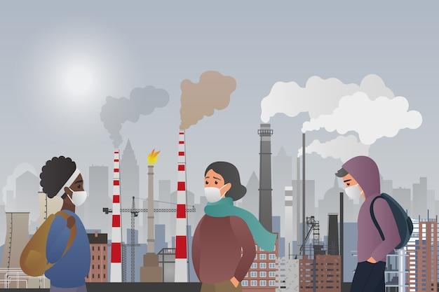 젊은 슬픈 남성과 여성은 도시에서 공기 오염을 일으키는 제조 파이프로 고통받는 보호 마스크를 착용합니다.