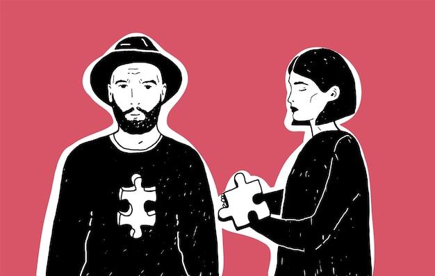 Молодая грустная женщина держит кусок головоломки и мужчина в шляпе с выемкой разной формы на груди