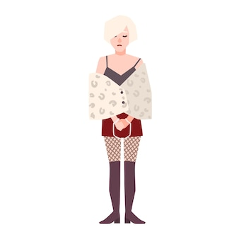 흰색 배경에 고립 된 수갑을 가진 젊은 슬픈 여자 또는 매춘부