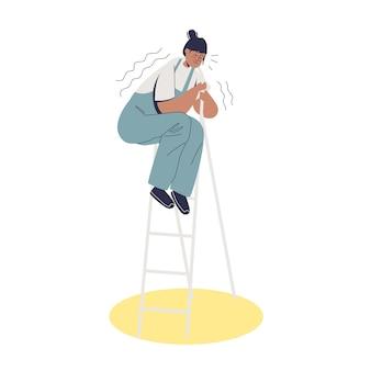 はしごの上に立っている間揺れている高所恐怖症の若い怖い女性