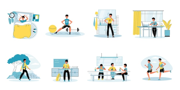 Young schoolboy daily life schedule routine activity scenes set.