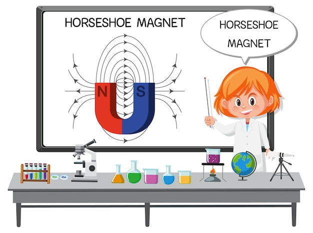 Young scientist explainning horseshoe magnet