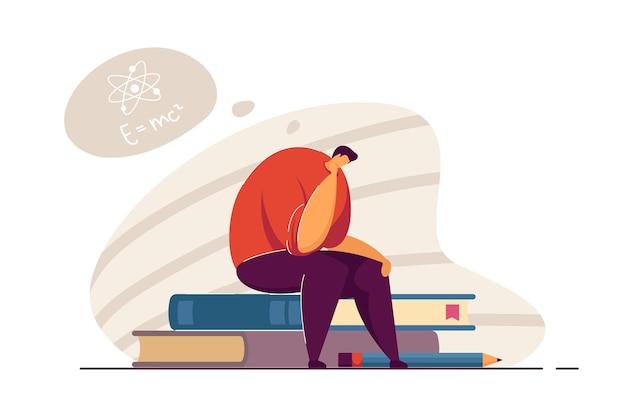 수식에 대해 생각하는 젊은 과학자. 수학 과제를 해결하려고 하는 남자. 솔루션을 찾고 있습니다. 과학, 배너, 웹 사이트 디자인 또는 방문 웹 페이지에 대한 지식 개념