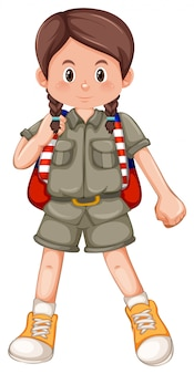 Young scout girl white background