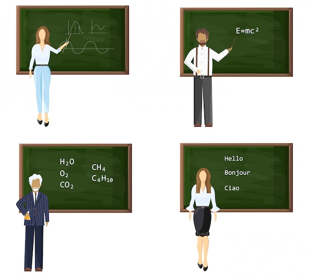 Young and senior male or female teachers near blackboard set