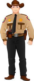 Молодой шериф в позе изолирован на белом фоне