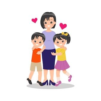 Молодая мать-одиночка со своими детьми мальчик и девочка с любовью обнимают свою маму