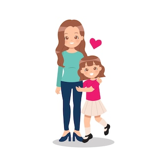 Young single parent mother with her daughter girl embrace her mom with love