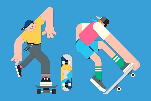 Young skateboarder characters on blue background vector