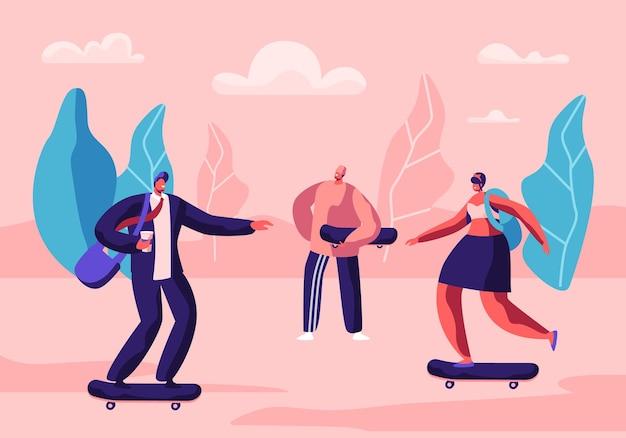 젊은 스케이트 보더 활동적인 남학생과 여학생 스포츠 극한, 시간 여름 여가 활동. 만화 평면 그림