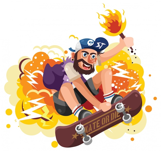 Young skater jumping holding a torch vector illustration
