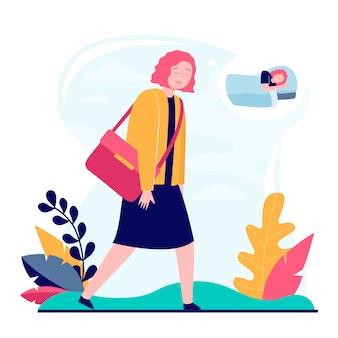 Молодая сонная женщина собирается на работу