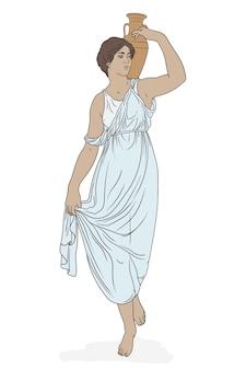 젊은 날씬한 고대 그리스 여자가 서서 그녀의 어깨에 점토 주전자를 들고