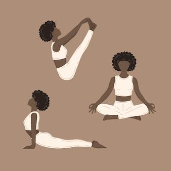 요가 운동을 하는 젊은 날씬한 여성. 벡터 일러스트 컬렉션