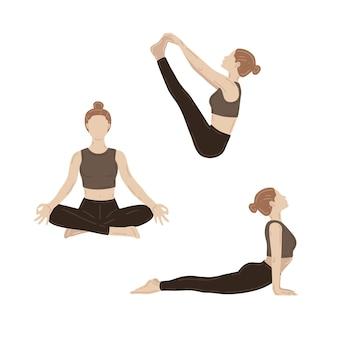요가 운동을 하는 젊은 날씬한 여성. 벡터 일러스트 세트