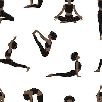 요가 운동을 하는 젊은 날씬한 여성. 벡터 원활한 패턴