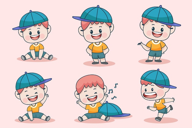 Молодой умный мальчик персонаж с различным выражением лица и позы рук.