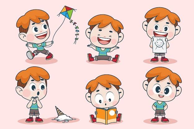 表情や手のポーズが異なる若いスマートな男の子のキャラクター。
