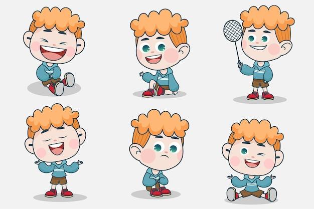 다른 표정과 손 포즈를 가진 젊은 똑똑한 소년 캐릭터.