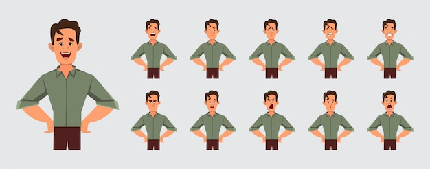 Young smart boy character with various facial emotions for your design and animation.