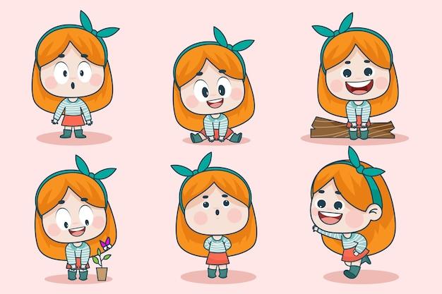 異なる表情と手のポーズを持つ若いスマートな女の子のキャラクター。