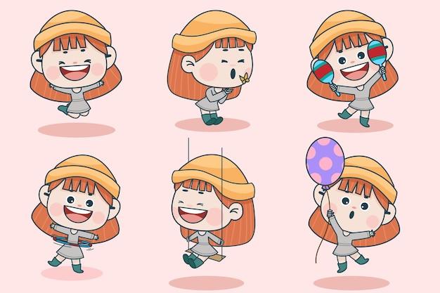 다른 표정과 손 포즈를 가진 젊은 똑똑한 소녀 캐릭터.