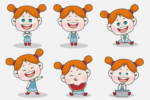 Молодой умный персонаж девушки с различным выражением лица и позы рук.