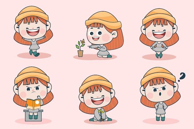 Personaggio di giovane ragazza intelligente con diverse espressioni facciali e pose della mano.