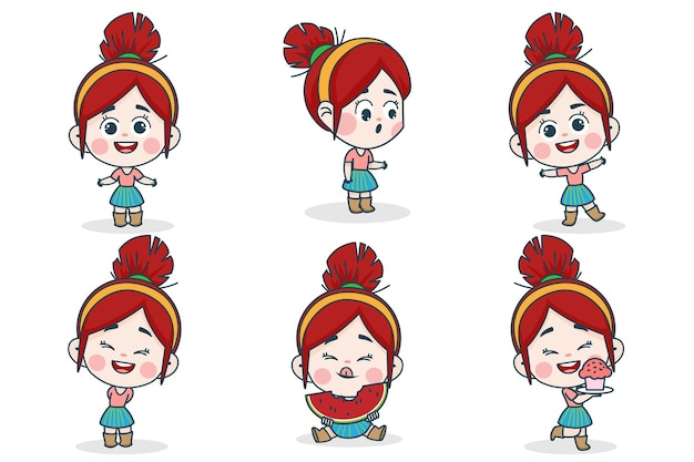 Young smart girl character with different facial expression and hand poses.