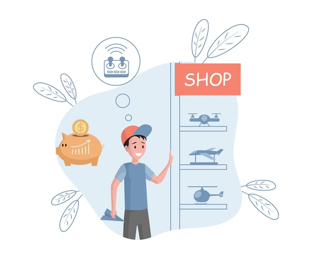 Young smiling boy choosing toys in shop vector flat illustration