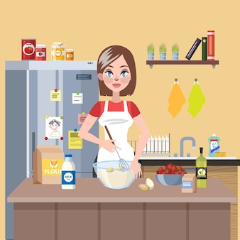 Young smiling housewife cooking pie in the kitchen using flour, milk and eggs. delicious homemade dinner.   illustration