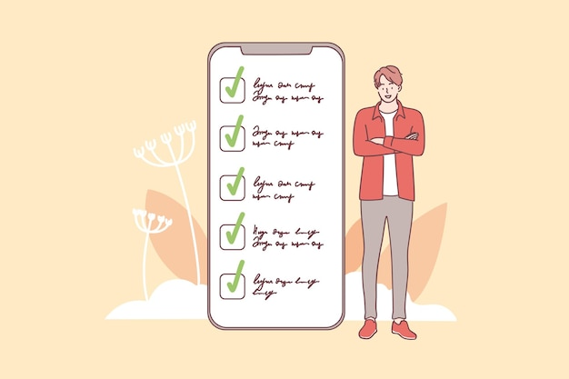 Young smiling man cartoon character standing near smartphone screen interface with completed tasks and duties