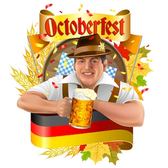 Young smiling man with beer mug, Oktoberfest label with ribbon banner, ears of wheat