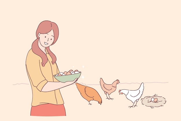 Young smiling woman cartoon character standing and holding bowl of fresh eggs with eating chicken at background on farm