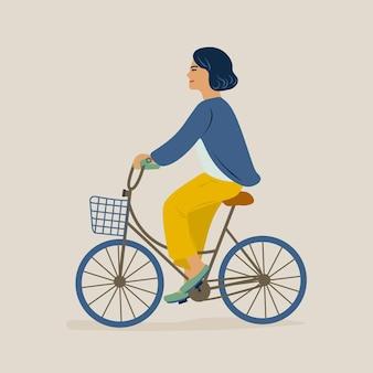 젊은 웃는 여자 또는 소녀 자전거를 타고 캐주얼 옷을 입고. 자전거에 여성 캐릭터. 밝은 배경에 고립 페달 사이클입니다. 플랫 만화 스타일의 다채로운 그림입니다.