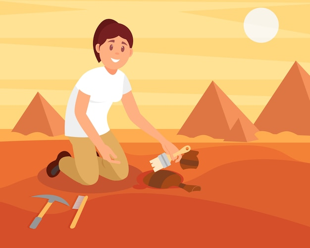 Young smiling woman sweeping dirt off old ceramic jug. archaeologist working on excavation in sandy egyptian desert. flat   design