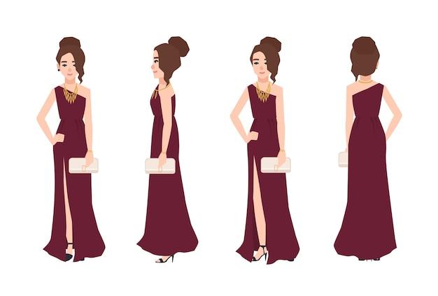 긴 원 숄더 이브닝 드레스를 입고 우아한 헤어 스타일을 가진 젊은 웃는 여자