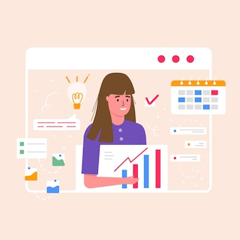 Young smiling woman working on the project. business concept, topics, project solutions, landing web page template for report, flyer, marketing, leaflet, advertising, brochure, trendy vector style.