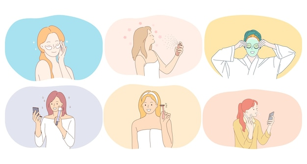 Young smiling women cartoon characters using face cream, hair spray, beauty masks, eye patches, razor for shaving doing make up illustration