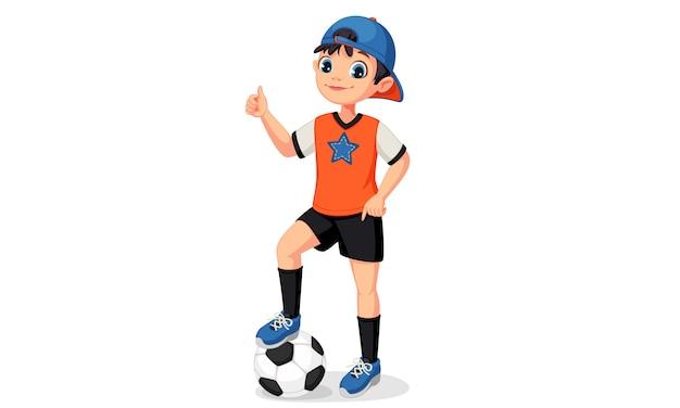 엄지 손가락 그림을 보여주는 젊은 축구 선수 소년