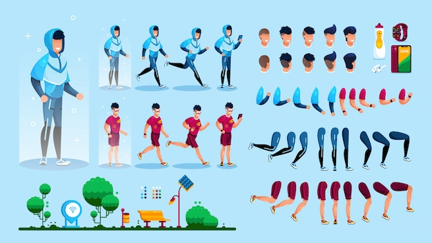 Young sportsman flat  character constructor