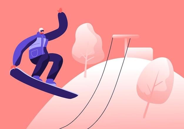 ケーブル道路と雪に覆われた自然の風景の背景にスノーボードでジャンプする若いスポーツマン。漫画フラットイラスト