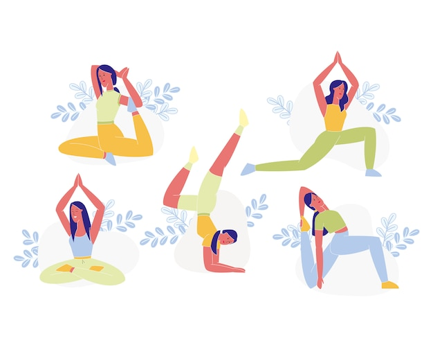 Young sporty woman doing yoga or pilates exercises