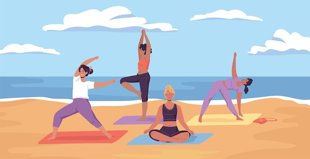 Young sporty women doing yoga exercises on the sunny sea beach