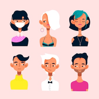 Young startup avatars icon set