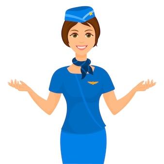 Young stewardess indicating exits