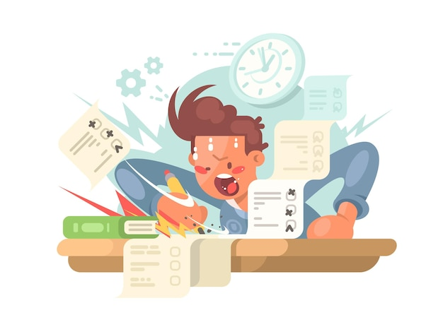 Young student on exam answers examination tests. vector flat illustration