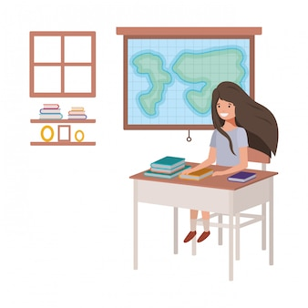 Young student girl in geography classroom
