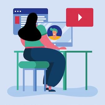 ホームスクールのオンライン教育の若い学生の女の子