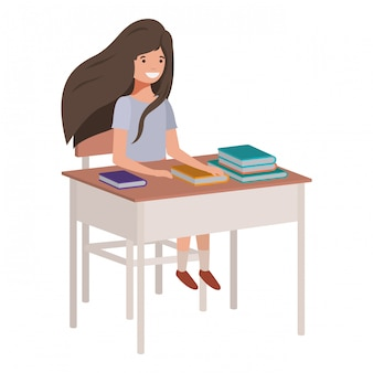 Young student girl sitting in school desk